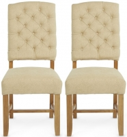 Serene Belmont Oatmeal Fabric Dining Chair with Oak Legs (Pair)