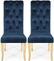 Serene Chiswick Indigo Blue Velvet Dining Chair with Oak Legs (Pair)
