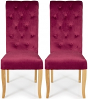 Serene Chiswick Raspberry Velvet Dining Chair with Oak Legs (Pair)