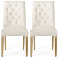 Serene Fulham Pearl Fabric Dining Chair with Oak Legs (Pair)