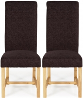 Serene Greenwich Aubergine Plain Fabric Dining Chair with Oak Legs (Pair)