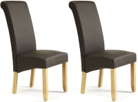 Serene Kingston Brown Faux Leather Dining Chair with Oak Legs (Pair)
