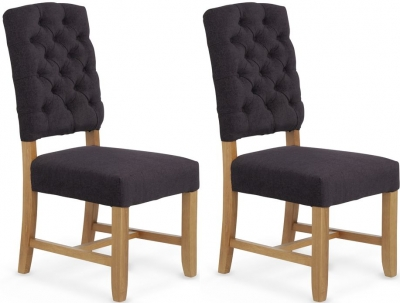 Serene Belmont Aubergine Fabric Dining Chair (Pair)