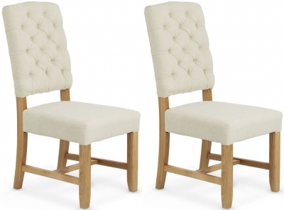 Serene Belmont Cream Fabric Dining Chair (Pair)