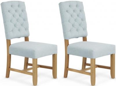 Serene Belmont Duck Egg Fabric Dining Chair (Pair)
