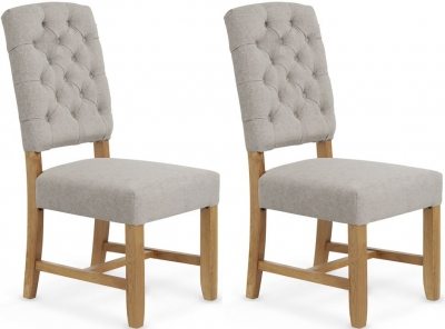 Serene Belmont Silver Fabric Dining Chair (Pair)