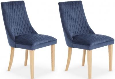 Serene Charlton Blue Fabric Dining Chair (Pair)