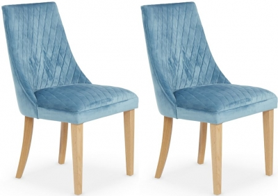 Serene Charlton Cyan Fabric Dining Chair (Pair)