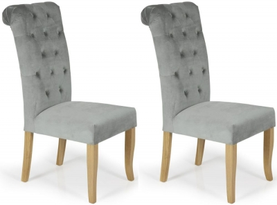 Serene Chiswick Silver Fabric Dining Chair (Pair)