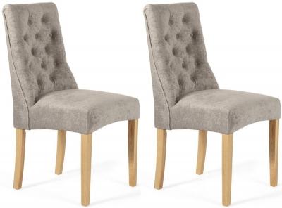 Serene Fulham Mink Fabric Dining Chair (Pair)