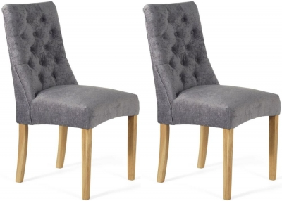 Serene Fulham Steel Fabric Dining Chair (Pair)