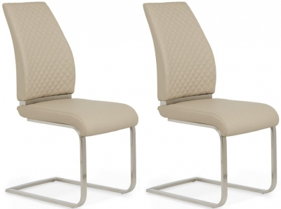 Serene Granada Taupe Faux Leather Dining Chair (Pair)