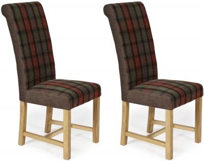 Serene Greenwich Brown Tartan Fabric Dining Chair with Oak Legs (Pair)