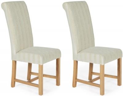 Serene Greenwich Cream Stripe Fabric Dining Chair with Oak Legs (Pair)