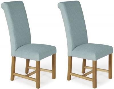 Serene Greenwich Duck Egg Plain Fabric Dining Chair with Oak Legs (Pair)
