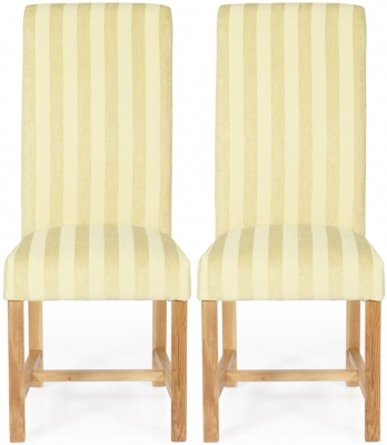 Serene Greenwich Oatmeal Stripe Fabric Dining Chair with Oak Legs (Pair)