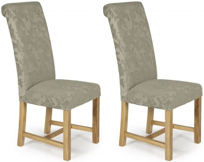 Serene Greenwich Sage Floral Fabric Dining Chair with Oak Legs (Pair)