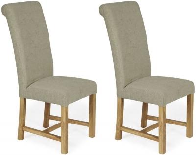 Serene Greenwich Sage Plain Fabric Dining Chair with Oak Legs (Pair)