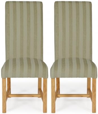 Serene Greenwich Sage Stripe Fabric Dining Chair with Oak Legs (Pair)