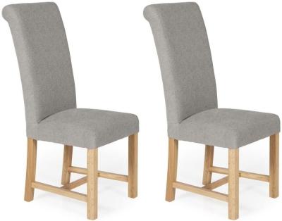 Serene Greenwich Silver Plain Fabric Dining Chair with Oak Legs (Pair)