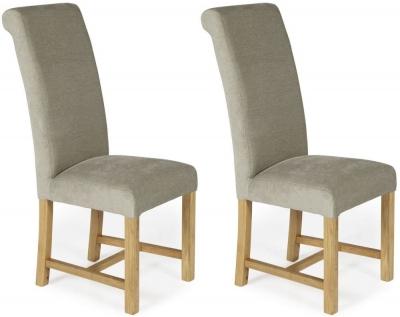 Serene Greenwich Stone Plain Fabric Dining Chair with Oak Legs (Pair)