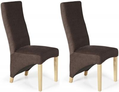 Serene Hammersmith Brown Plain Fabric Dining Chair with Oak Legs (Pair)