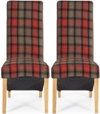 Serene Hammersmith Brown Tartan Fabric Dining Chair with Oak Legs (Pair)