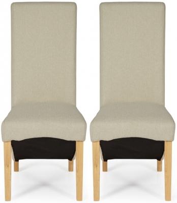 Serene Hammersmith Latte Plain Fabric Dining Chair with Oak Legs (Pair)