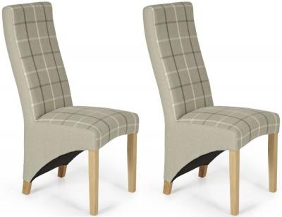 Serene Hammersmith Latte Tartan Fabric Dining Chair with Oak Legs (Pair)