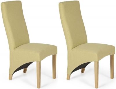 Serene Hammersmith Mustard Plain Fabric Dining Chair with Oak Legs (Pair)