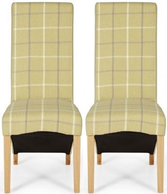 Serene Hammersmith Mustard Tartan Fabric Dining Chair with Oak Legs (Pair)