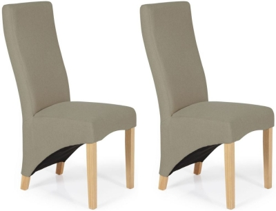 Serene Hammersmith Natural Plain Fabric Dining Chair with Oak Legs (Pair)
