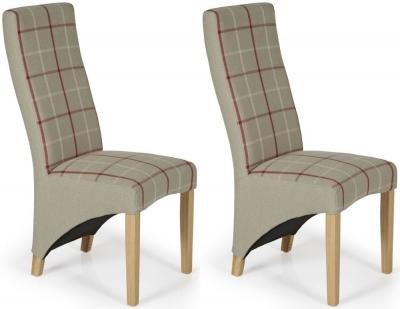 Serene Hammersmith Natural Tartan Fabric Dining Chair with Oak Legs (Pair)