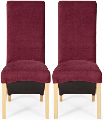 Serene Hammersmith Red Plain Fabric Dining Chair with Oak Legs (Pair)