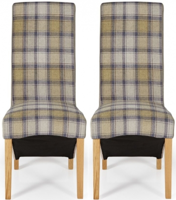 Serene Hammersmith Stone Tartan Fabric Dining Chair with Oak Legs (Pair)