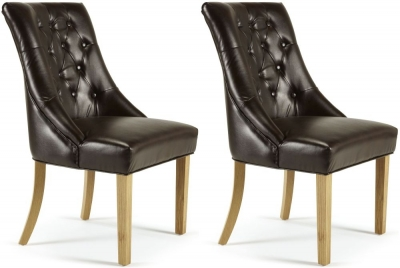 Serene Hampton Brown Bonded Leather Dining Chair (Pair)