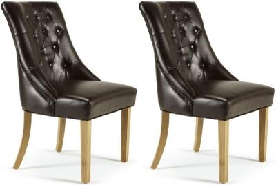 Serene Hampton Brown Bonded Leather Dining Chair (Pair)