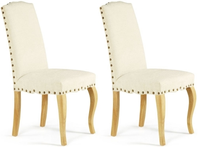 Serene Kensington Pearl Fabric Dining Chair with Oak Legs (Pair)