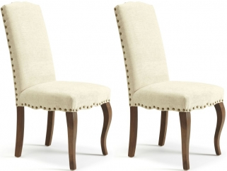 Serene Kensington Pearl Fabric Dining Chair with Walnut Legs (Pair)