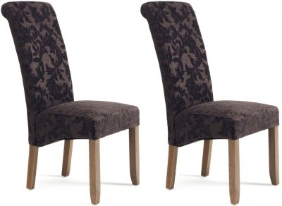 Serene Kingston Aubergine Floral Fabric Dining Chair with Walnut Legs (Pair)