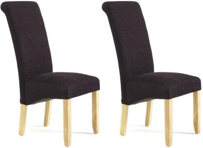 Serene Kingston Aubergine Plain Fabric Dining Chair with Oak Legs (Pair)