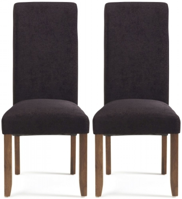 Serene Kingston Aubergine Plain Fabric Dining Chair with Walnut Legs (Pair)