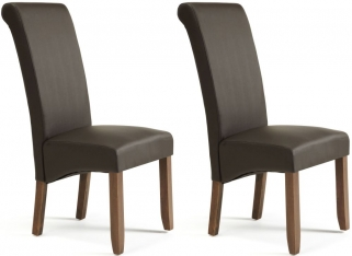 Serene Kingston Brown Faux Leather Dining Chair with Walnut Legs (Pair)
