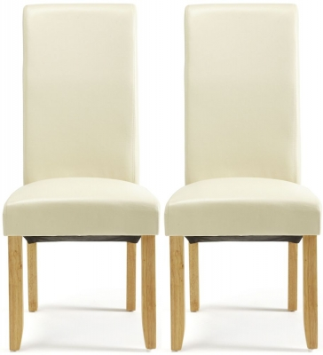 Serene Kingston Cream Faux Leather Dining Chair with Oak Legs (Pair)