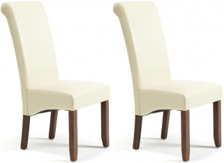 Serene Kingston Cream Faux Leather Dining Chair with Walnut Legs (Pair)