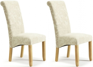 Serene Kingston Cream Floral Fabric Dining Chair with Oak Legs (Pair)