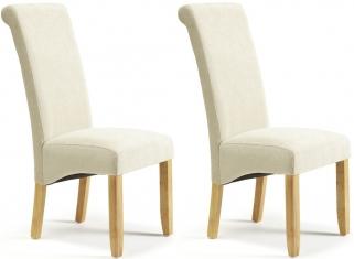 Serene Kingston Cream Plain Fabric Dining Chair with Oak Legs (Pair)