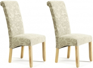 Serene Kingston Sage Floral Fabric Dining Chair with Oak Legs (Pair)