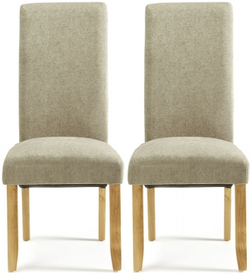Serene Kingston Sage Plain Fabric Dining Chair with Oak Legs (Pair)