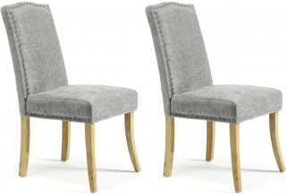 Serene Knightsbridge Steel Fabric Dining Chair (Pair)